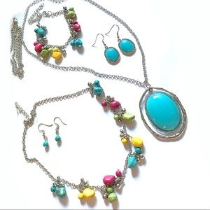 Jewelry - 5-Pc Multicolor Necklace Earrings and Bracelet Set